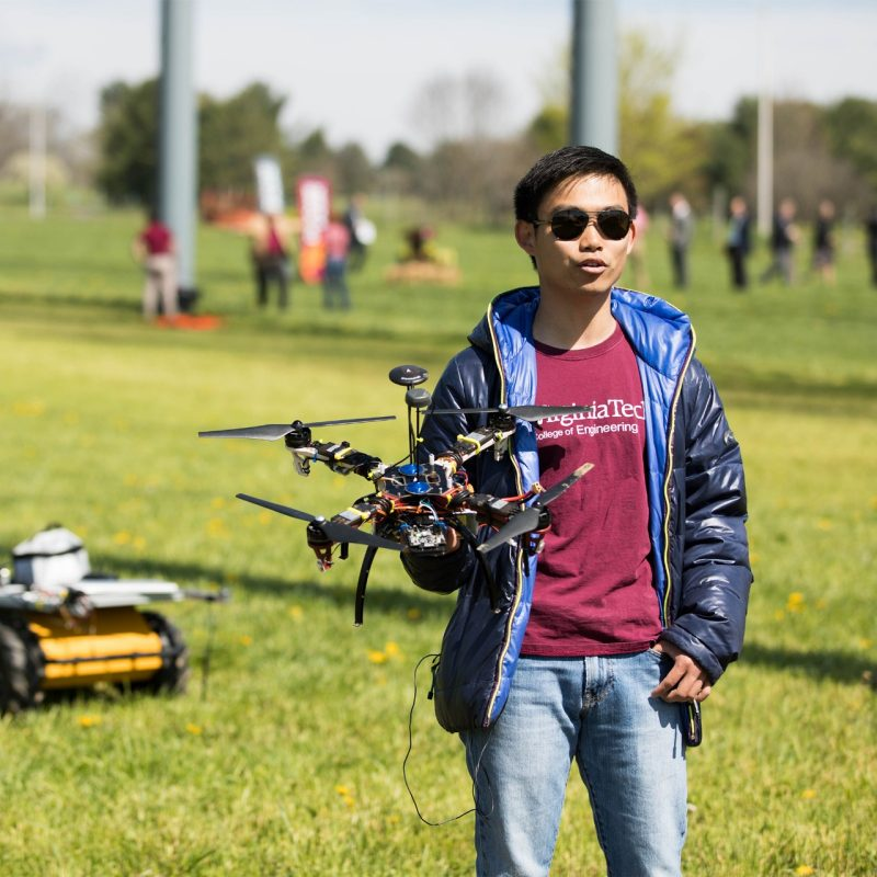Virginia Tech graduate student at the drone park